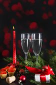 2 Glasses Of Champagne, Red Candle, Tartlets With Red Caviar, Gift Box With Red Ribbon , Fir Branche poster