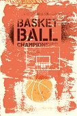 Basketball Championship Typographical Vintage Stencil Spray Grunge Style Poster. Retro Vector Illust poster