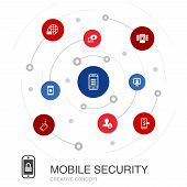 Mobile Security Colored Circle Concept With Simple Icons. Contains Such Elements As Mobile Phishing, poster