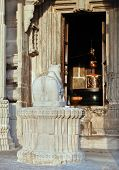 pic of ling  - Hindu sacred cow outside the doorway to the Shiv Ling at Kumbhalghar Fort Rajashan India - JPG
