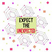 Text Sign Showing Expect The Unexpected. Conceptual Photo Anything Can Happen Consider All Possible  poster
