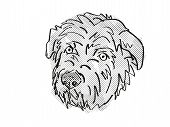 Retro Cartoon Style Drawing Of Head Of A Glen Of Imaal Terrier, A Domestic Dog Or Canine Breed On Is poster