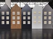 Image Of Several Houses Cardboard Houses With Windows. Five Houses Different Color. Five Dutch House poster