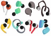 Vector Set Of Wireless Headphones. Headphones For Listening To Music, Sports. Multi-colored Headphon poster