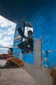 Old Propeller Screw In Outdoor Ship Repair Station. Boat Propeller poster