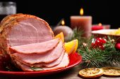 Plate With Delicious Ham Served On Wooden Table, Closeup. Christmas Dinner poster