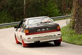 Leiria, Portugal - April 20: Cipriano Antunes Drives A Audi Quattro During Day One Of Rally Verde Pi