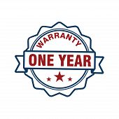 Red One Year Warranty Badge Or Medal For Product Attribution Vector Design poster