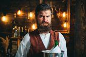 Bearded Bartender Or Waiter In Work Uniform. Long Bearded Waiter Or Servant. Brutal Bearded Servant. poster