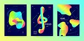 Vivid Music Banner. Minimal Lines. Electronic Club Festival. Multicolor Abstract Movement. Trendy Mu poster