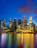 stock photo of singapore night  - city night view for singapore - JPG