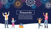 Family Watching Firework Explosions. Couple With Kids Launching Fireworks, Celebrating Holidays And  poster