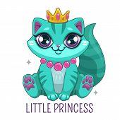 Funny Blue Kitten Wearing The Crown. Beautiful Cartoon Kitty Princess. poster