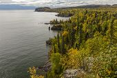 A Scenic View Of Lake Superior During Autumn. poster