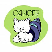 Cancer Astrological Zodiac Sign With Cute Cat Character. Cat Zodiac Icon. Kitten Cancer Sticker. Bab poster
