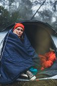Tourist Traveler Ralaxing In Camp Tent In Froggy Rain Forest, Closeup Lonely Hiker Woman Enjoy Mist  poster