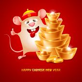 Happy Chinese New Year. Cute And Funny Rat, Zodiac Symbol Of New  Year And Stack Of Golden Ingots. W poster