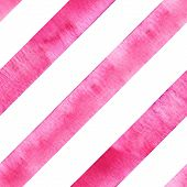 Watercolor Pink Diagonal Stripes On White Background. Striped Seamless Pattern. Watercolour Hand Dra poster