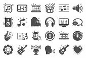 Music Icons. Set Of Acoustic Guitar, Musical Note And Vinyl Record. Jazz Saxophone, Drums With Drums poster