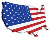 picture of usa flag  - A 3D US map with flag of the united states of america - JPG