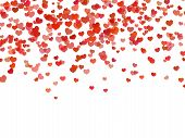 Heart Background. Falling Red Love Hearts Confetti Shapes On White. Valentines Day And Wedding Invit poster