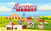 Farmers Market Farmer Family Sell Harvest Products Grocery On Eco Farm Organic. Countryside View Far poster