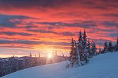 The Mountain Valley In Majestic Red Light Of Sunrise. Cold Winter Morning. poster
