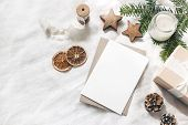 Christmas Blank Greeting Card Mock-up Scene. Festive Winter Wedding Composition. Craft Envelope, Pin poster