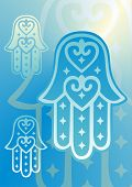 picture of hamsa  - hand of fatima with heart shapes in blue shades - JPG