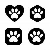 Vector Cat And Dog Paw Print Logo. The Paw Track In The Heart, Circle, Square, Hexagon. poster