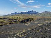 Icelandic Lava Desert Landscape With View On Tindfjallajokull Glacier Mountain Peak. Fjallabak Natur poster