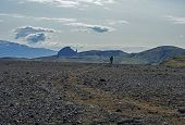 Icelandic Lava Desert Landscape With Two Hikers Couple On Laugavegur Hiking Trail With With View On  poster