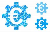 Euro Machinery Gear Composition Of Tuberous Elements In Different Sizes And Color Hues, Based On Eur poster