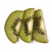 Three kiwi fruit slices isolated over white background closeup. Half of kiwi slice. Kiwifruit slice, poster
