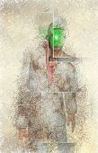 Surreal digital art. Man in white corroded suit with green apple instead of face. 3D rendering poster