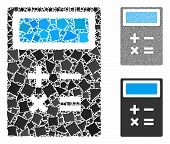 Calculator Mosaic Of Trembly Elements In Various Sizes And Color Tones, Based On Calculator Icon. Ve poster
