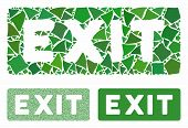 Exit Label Composition Of Abrupt Parts In Different Sizes And Color Tinges, Based On Exit Label Icon poster