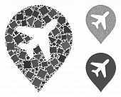 Airplane Composition Of Humpy Items In Variable Sizes And Color Tints, Based On Airplane Icon. Vecto poster