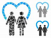 Marriage Mosaic Of Inequal Elements In Different Sizes And Color Hues, Based On Marriage Icon. Vecto poster
