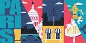 Paris, France Vector Skyline Illustration, Postcard. Travel To Paris Modern Flat Graphic Design poster