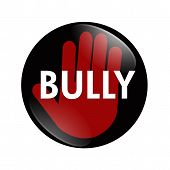 picture of stop bully  - A black white and red button with word Bully with stop hand symbol isolated on a white background No Bully button - JPG