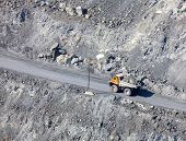 picture of asbestos  - Dump truck in the asbestos quarry - JPG