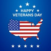 Happy Veterans Day Isolated Celebration Usa With Stars On Blue Background. Veterans Day For Banner D poster