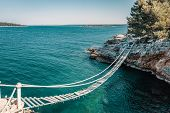 Above The Rope Bridge Over A Cliff In Punta Christo, Pula, Croatia - Europe. Travel Photography, Per poster