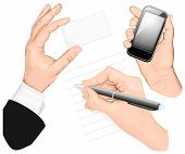 Set of hands: write hand, hand holding mobilphone, hand holding card. vector illustration