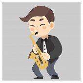 Jazz Musician, Man Playing Saxophone. poster