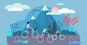 Daily Life Bike Ride Vector Illustration. Flat Tiny Everyday Transport Persons Concept. Active Lifes poster