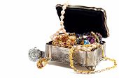 pic of treasure chest  - Accessory and jewelry in silver jewel chest white background - JPG