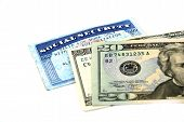 foto of social-security  - stock pictures of a social security card and money - JPG