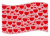 Waving Red Flag Collage. Vector Alcohol Glass Pictograms Are Combined Into Geometric Red Waving Flag poster